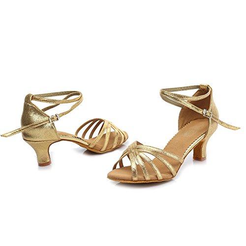 HROYL Zapatos de baile/Zapatos latinos de Leather mujeres EM5-18106 Gold