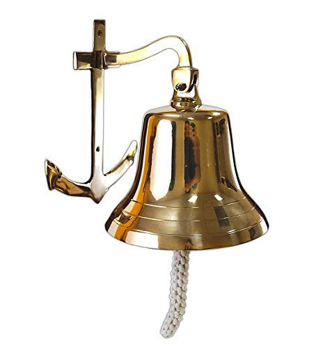 Nautical Club Ships Bell - Large - Solid Brass W/mounting Bracket and Anchor New