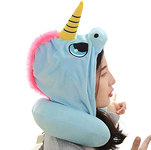 KIKIGOAL Unicorn Hooded Animal Travel Neck Pillow Polyester Neck Pillow Support Cushion Unicorn Hoodie Funny Gifts for…