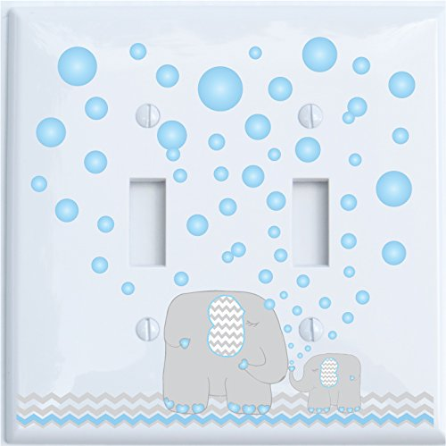 Elephant Light Switch Plate Covers with Blue