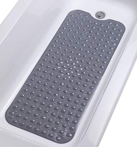 """TIKE SMART Extra-Long Non-Slip Bathtub Mat 39""""x16"""" (for Smooth/Non-Textured Tubs Only) Safe, Clean, Anti-Bacterial, Machine-Washable, Superior Grip&Drainage, Vinyl Bath Mat, Opaque Gray (Grey) …"""