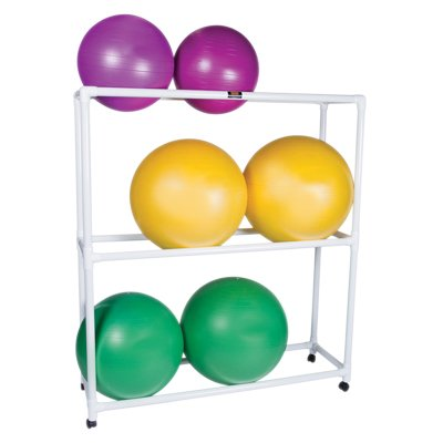 CanDo 30-1832 Inflatable Exercise Ball, Accessory, PVC Mobile Floor Rack, 3 Shelf, 62'' x 20'' x 72''