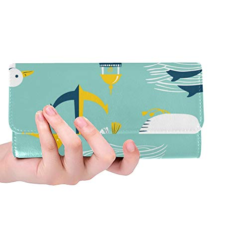 (Unique Custom Beach House Hand-painted Ideas Women Trifold Wallet Long Purse Credit Card Holder Case Handbag )