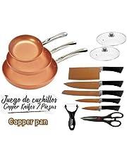 Maxell Power CE Juego DE 3 SARTENES 2 Tapas Cuchillos Tijeras Color Cobre Copper Pan Apto