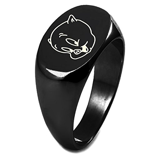 Black IP Plated Sterling Silver Looney Tunes Porky Pig Engraved Oval Flat Top Polished Ring, Size 7