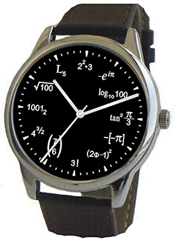 ows Physics Equations on The Black Dial of The Large Polished Chrome Watch with Black Leather Strap ()