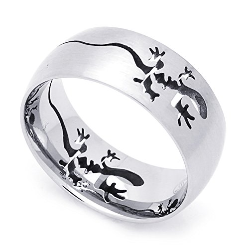 Double Accent 9MM Stainless Steel Cut-Out Lizard Comfort Fit Wedding Band Ring (Size 7 to 14) Size - Steel Out Stainless Band Cut