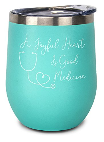 A Joyful Heart Is Good Medicine! 11oz Stainless Steel Inspirational Wine Tumbler with Lid. Gift for Nurse, Medical Assistant, Doctor, Nursing Student, or Healthcare Professional (Aqua) by RNsRUs