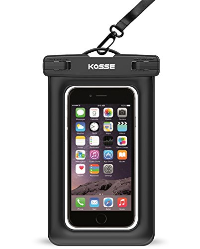 """Floating Waterproof Case, Kosse Snowproof Dustproof CellPhone Dry Bag Pouch with Strap for iPhone 7 6S 6 Plus SE 5S Samsung Galaxy Google Pixel HTC LG Sony Nokia Motorola up to 6.0"""" diagonal-Black"""