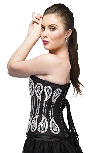 ハウジング踏み台反響するBlack Satin White Sequins Gothic Burlesque Waist Cincher Bustier Overbust Corset