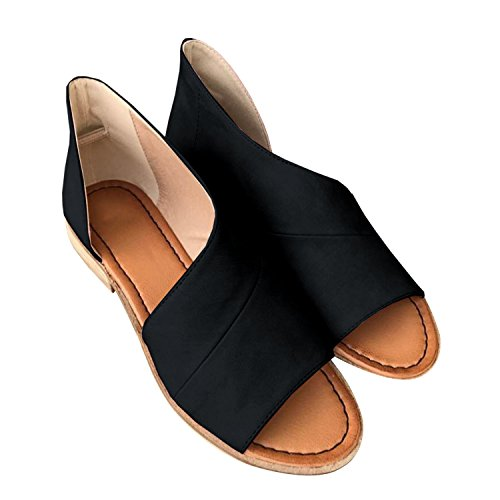 JeanewPole1 Womens Casual Slip On D'orsay Flats Peep Toe Cutout Asymmetrical Sandals Shoes Loafers