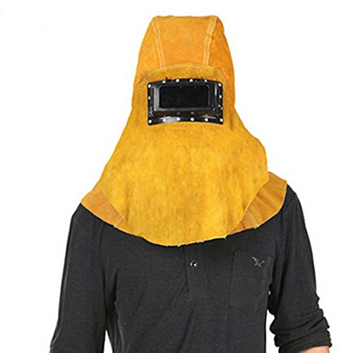Joyutoy Yellow Head Mounted Flip 3 in 1 Cowhide Split Leather Welding Helmet Face Mask Hood Hat And Shawl (Spirit Halloween Coupon Code)
