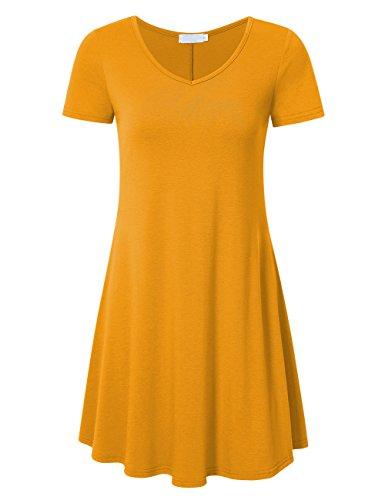 Women's Plain Short Sleeve Simple Tunic Casual T-shirt Yellow M (Shirt Mustard Girl)