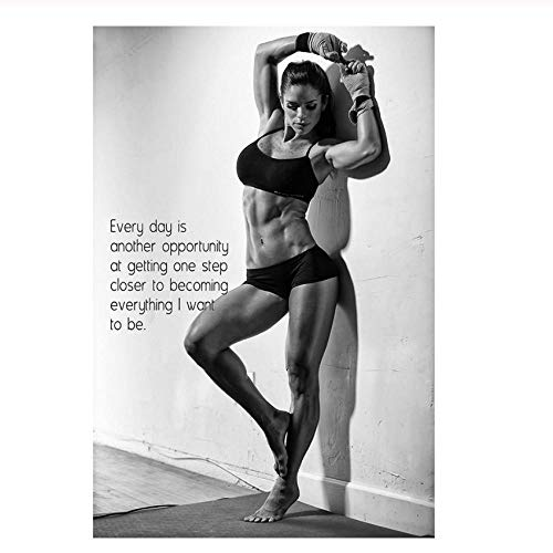 Bodybuilding Girl, Fitness Motivational Quotes, Canvas Prints Art Wall Poster Hd Print for Gym Room Decor 60X90 cm/No Frame (Best Motivational Wallpapers Hd)