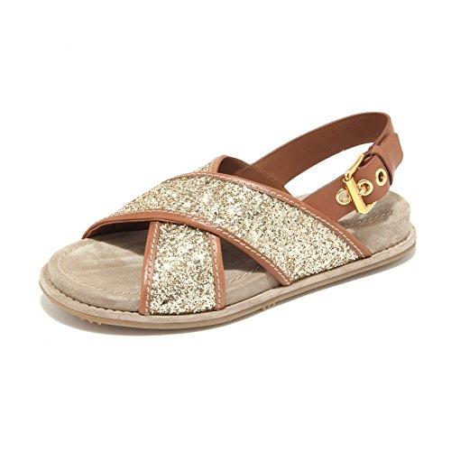 6374L sandali donna CAR SHOE glitter oro scarpe shoes sandals women cuoio scuro/oro