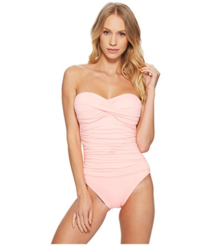 La Blanca Women's Island Goddess Rouched Front Bandeau One Piece Swimsuit, Light Coral, 12 Front Bandeau
