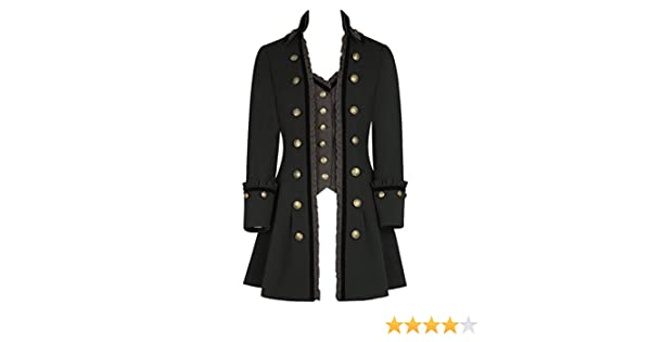 10-30 Cavalier Military Highwayman High Collar Long Gothic Waistcoat Jacket Black Grey
