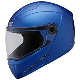 Studds Ninja Elite SUPER Flip Up Full Face Helmet (Flame Blue, L)