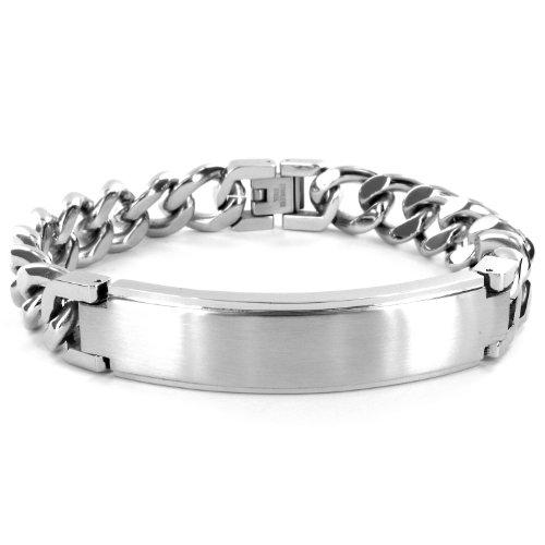 Engravable Silver Bracelets - Crucible Stainless Steel Identification Curb Chain Bracelet - Engravable (14mm) - 8.5