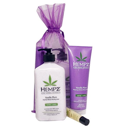 Hempz VANILLA PLUM Herbal BATH & BODY GIFT SET - 3 pc.