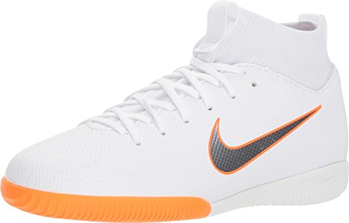 (Nike Jr Superflyx 6 Academy GS Dynamic IC Indoor Soccer Shoes-White Orange Size: 6Y)