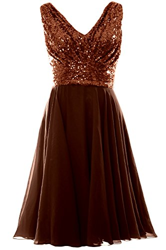 MACloth Women V Neck Sequin Chiffon Short Bridesmaid Dress Formal Evening Gown (18w, Bronze)