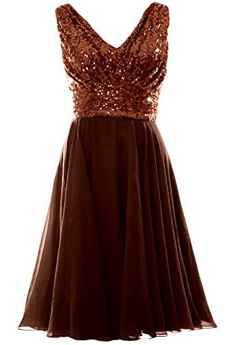 MACloth Women V Neck Sequin Chiffon Short Bridesmaid Dress Formal Evening Gown (18w, Bronze)