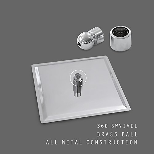 Rain 8-inch Square Shower Head Chrome Ultra-Thin Waterfall Rain Showerhead SUS304 Stainless Steel Universal Fit For Bathroom (8inch) by JAKARDA (Image #3)