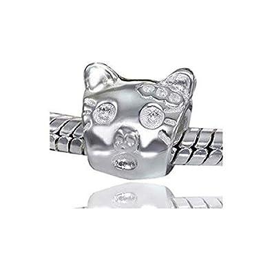 Materia joyería 925 plata granos gato cabeza - granos plata gatos elemento granos europeos pulseras #641: Amazon.es: Joyería
