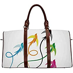 "Flying Birds Decor Waterproof Travel Bag,Group of Colorful Swallow Birds Flying to the Sky Hope Phoenix Courage Wings Graphic Art for Travel,18.62""L x 8.5""W x 9.65""H"