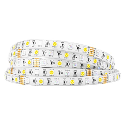 BTF-LIGHTING 5050 RGBW RGB+Whtie Strip 5M 16.4ft 60leds/m IP65 Waterproof in slicone Coating Mixed Color led Strip (Lift Fix Concealed)
