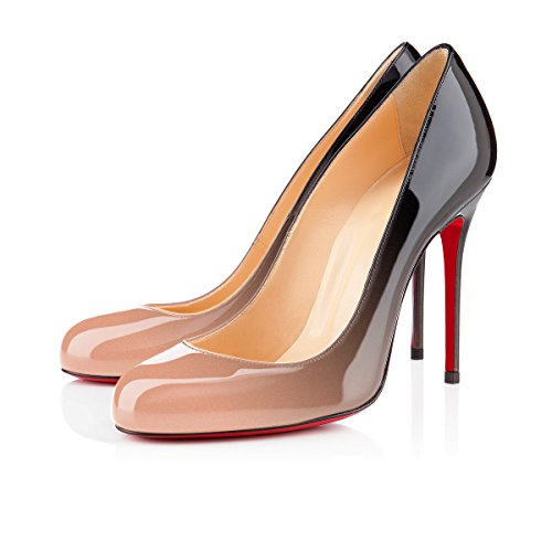 uBeauty Women's Stiletto Heels Round Toe Court Shoes Slip On High Heel Pumps Sandals Shoes For Dress Work Place Black and Nude rk2PEk6