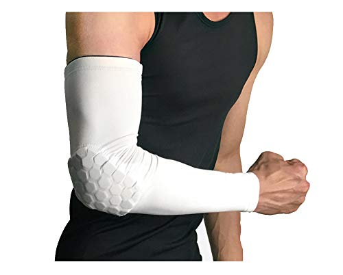 RGA Basketball Elbow Arm Guard Sleeve Padded Compression Protection Elbow Sleeve Padded Arm Sleeve for Football, Baseball, Outdoor Sports (White, M) (Padded Basketball Arm Sleeve)