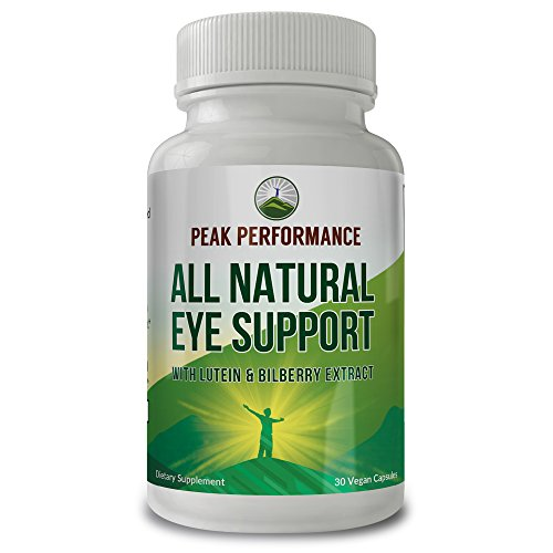 Eye Support Supplement / Vitamins with Carotenoids Lutein and Bilberry Extract by Peak Performance. Great Eye Protection for Computer Users. With Zeaxanthin and Astaxanthin. 30 Vegan Capsules (1 pack) by Peak Performance Coffee