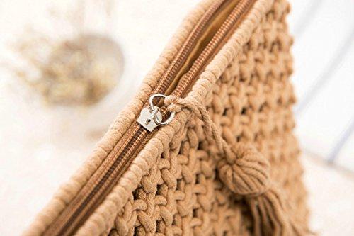 Tassel plage tissé simple Blanc de Sac femme à NEUF Agneta main d'été Mer pour HqI88g