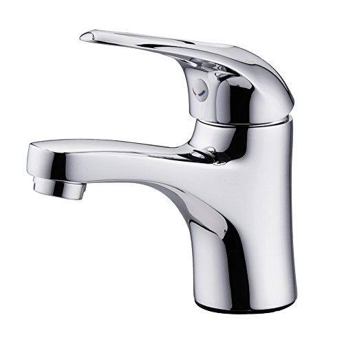 JOMOO Single Handle Single Hole Bathroom Sink Faucet Solid Brass Lead Free Basin Mixer Taps Lavatroy Hot And Cold Water Faucet Small Faucet Tap, Chrome