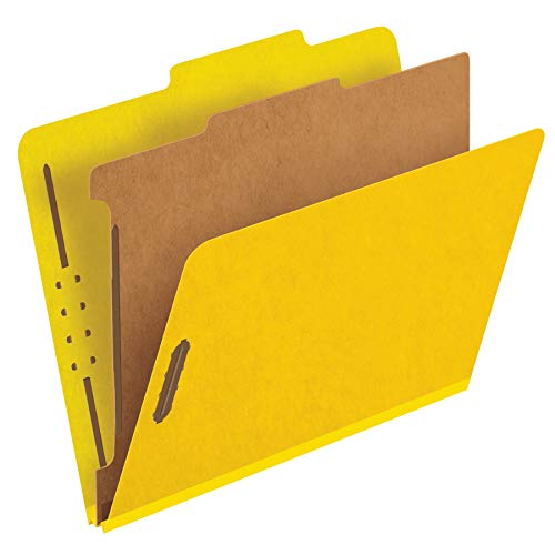 Pendaflex Classification Folders, Standard, 1 Divider, Embedded Fasteners, 2/5 Cut Tab, Yellow, Letter Size, 10/BX (23734) ()