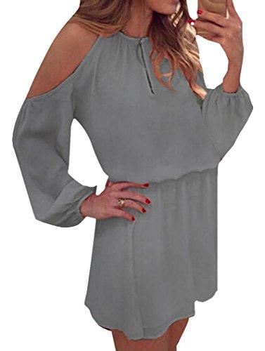 Coolred-femmes En Mousseline De Soie Mini-casual Manches Longues Découpé Hors Gris Robe Épaule