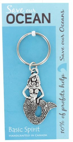 Basic Spirit Pewter Global Giving Save Our Oceans Mermaid Keychain ()