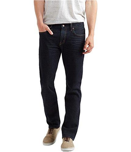 Aeropostale Mens 5 Pocket Stretch Slim Straight Jeans, Blue, 28W x 30L