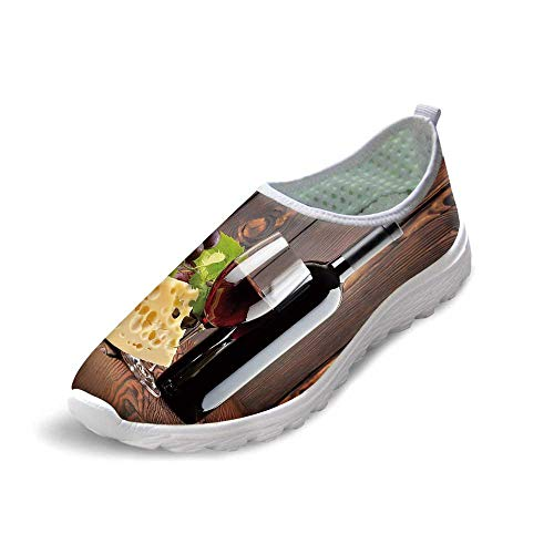 Wine Comfortable Running Shoes,Red Wine Cabernet Bottle and Glass Cheese and Grapes on Wood Planks Print Decorative for Men Boys,US 6.5