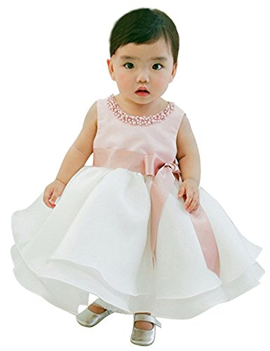 NNJXD Girl Sleeveless Ankle Length Tutu Princess Wedding Pink Dress Size 0-6 Months Pink&White