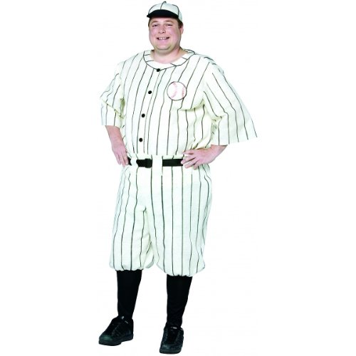 [Plus Size Old Tyme Baseball Player Costume (Fabric feels like stiff felt)] (Baseball Bat Man Costume)
