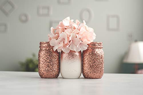 3 Rose Gold Vase Glitter Mason Jar Decor Organizing Storage