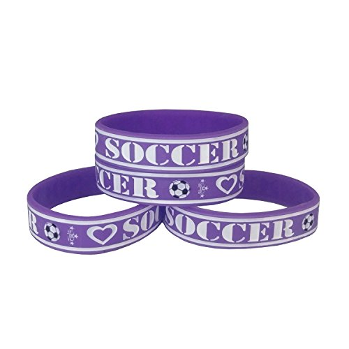 4-Pack Soccer Silicone Rubber Wristbands for Girls in Purple and White Colors - 160mm Child