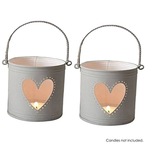 Hosley's Set of 2 Lanterns, 4 inch High with Heart Cutout. Ideal Gift for Weddings, Party, DIY Craft and Floral Projects, Party Favors, Baby showers with LED Tealight / Votives in Candle - Heart White Candle Set