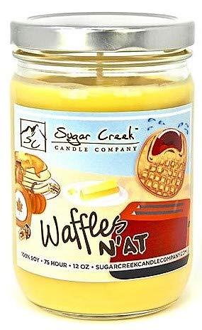 Sugar Creek Candles | Waffles N'at (Pumpkin Pecan Waffles) | Non-Toxic, 100% Natural Soy Wax | Maximum Scent Strength (10% Load) | 75-Hours Burn Time (12 oz. Jar)