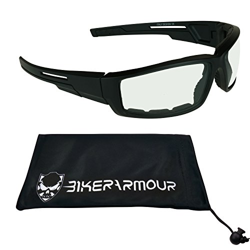 I pair of Transition Motorcycle Glasses with Photochromic CLEAR to DARK - Transition Glasses Riding