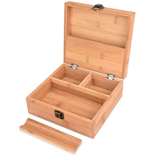 Stash box for weed with rolling tray - Large and perfect to organize all your smoking accessories - Premium handmade design with lid and latch - 7.5 x 7 x 3 inches (Best Weed Stash Box)