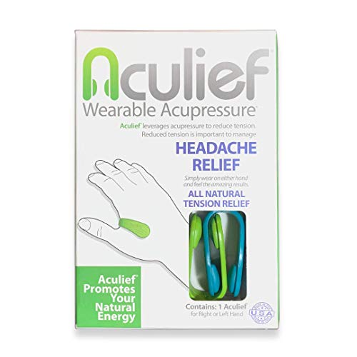 Aculief - Award Winning Natural Headache, Migraine and Tension Relief - Wearable Acupressure - Stress Alleviation - Simple, Easy & Effective 2 Pack - (Teal & Green) from Aculief